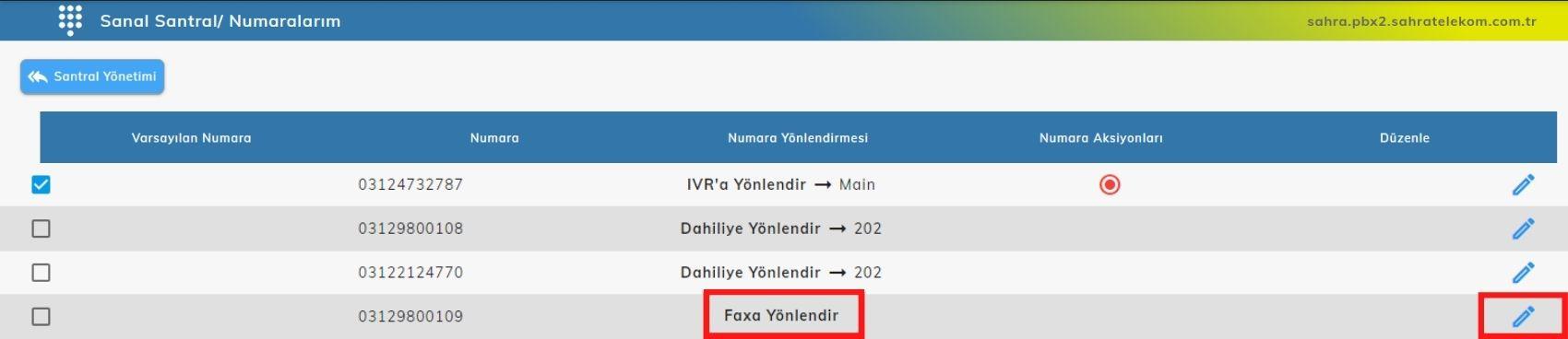 sanal santral numaralarim - Online Fax Ayarları